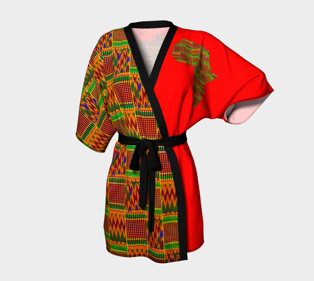 Front and back african red Kimono robe