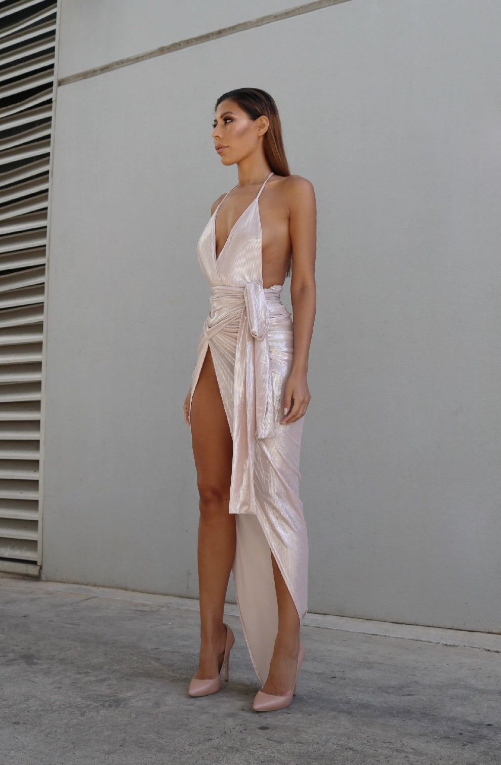 SIANI WRAP GOWN - PINK LUXE