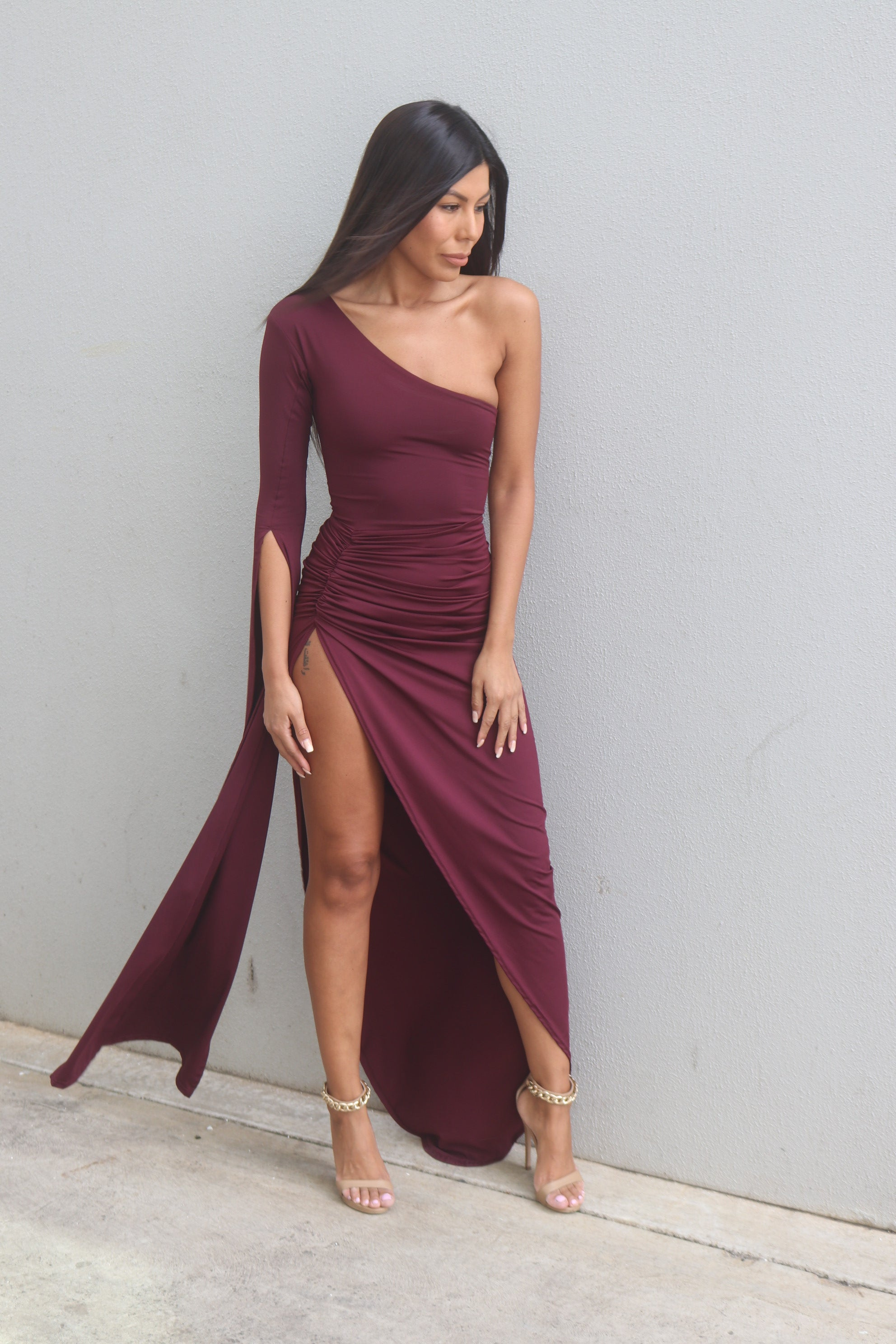 MILAYA GOWN -WINE RED