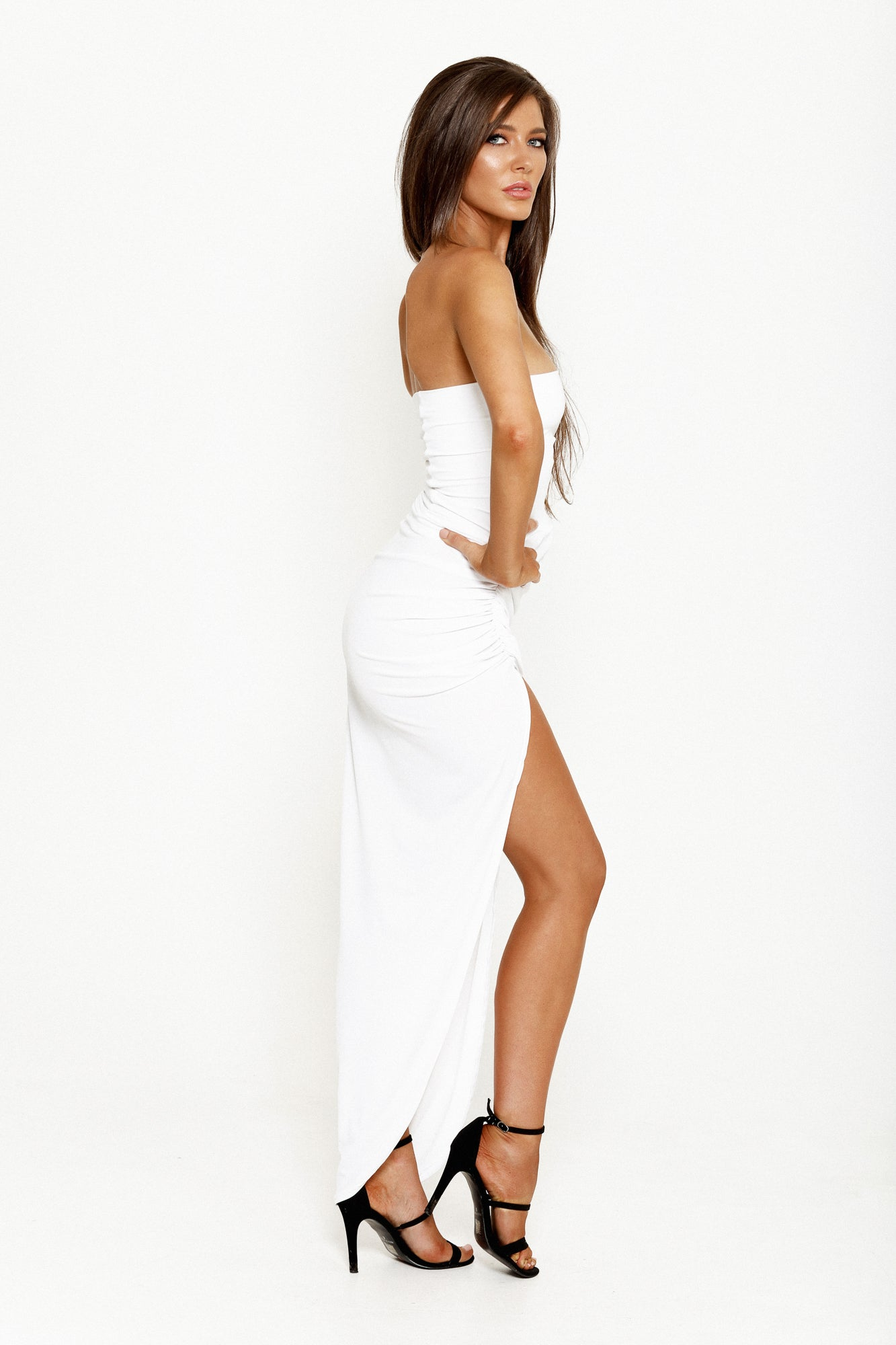 ANASTASIA STRAPLESS GOWN - WHITE