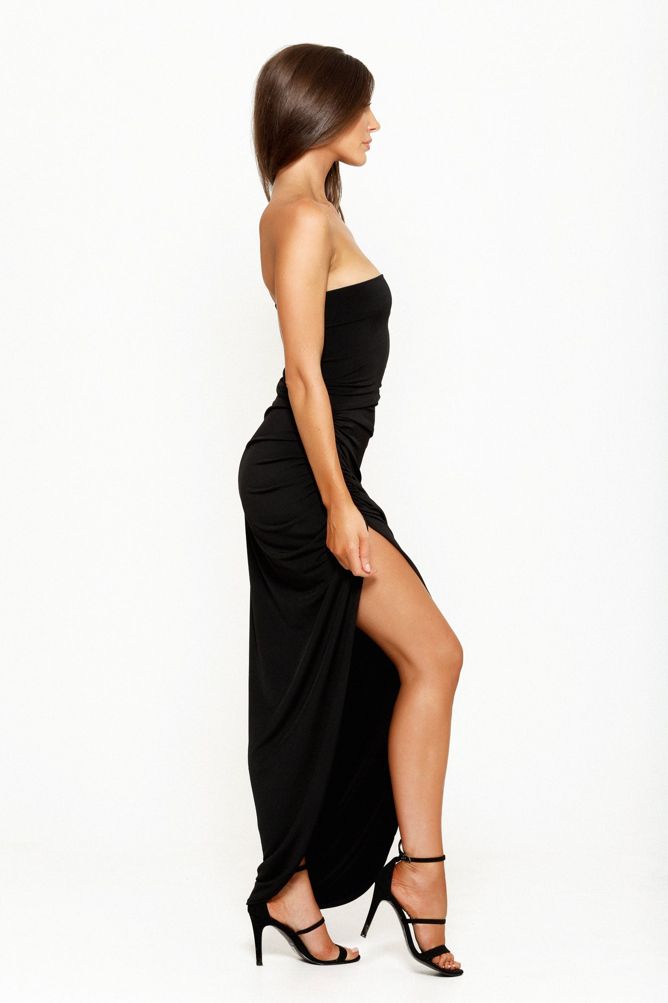 ANASTASIA STRAPLESS GOWN - BLACK