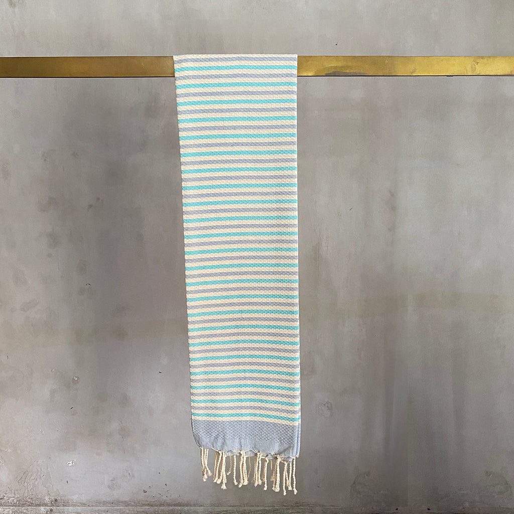 Tunisian Towel - Aqua/ Grey  Homewares