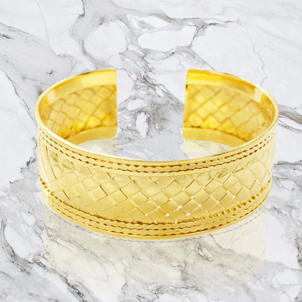Basket Weave Wide Cuff Bracelet - Gold Plated