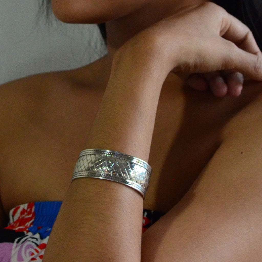 Basket Weave Wide Cuff Bracelet - Sterling Silver  Jewellery