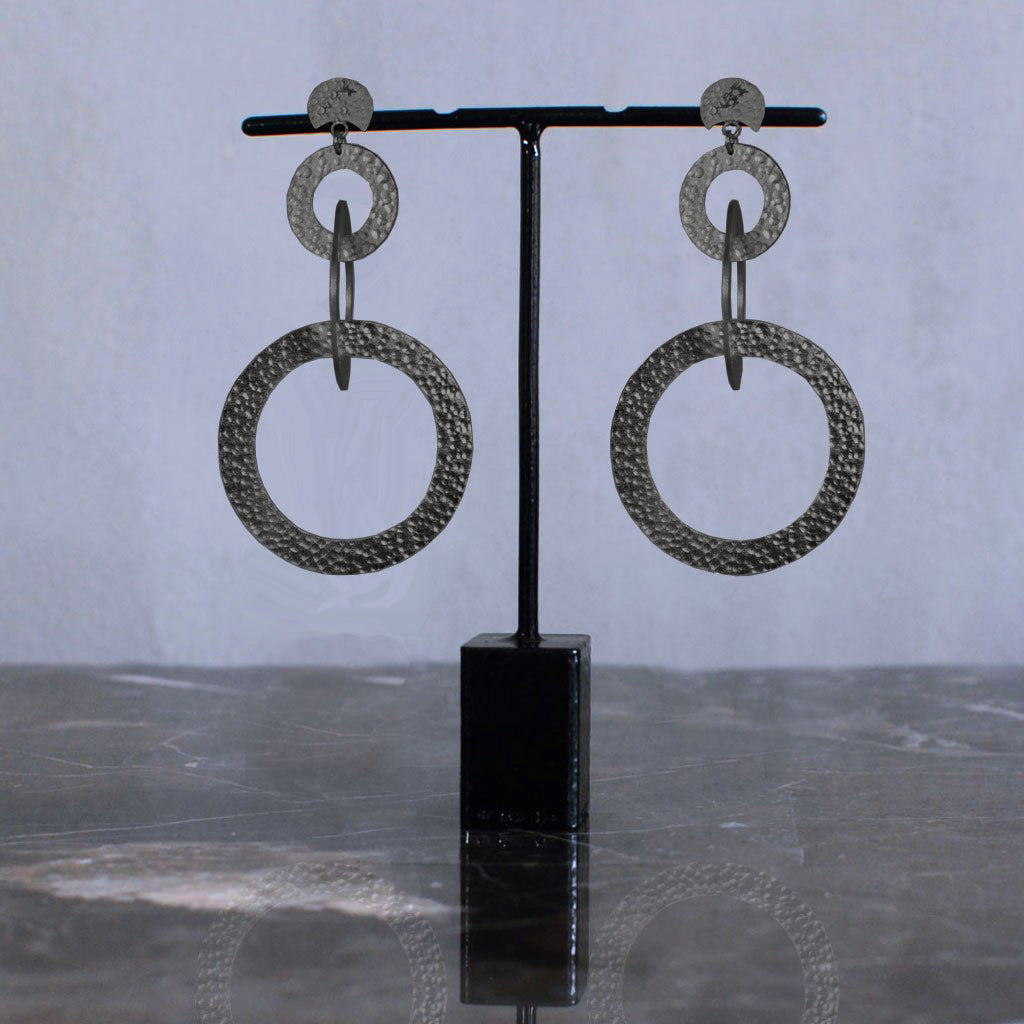 Samsara Earrings - Black Silver
