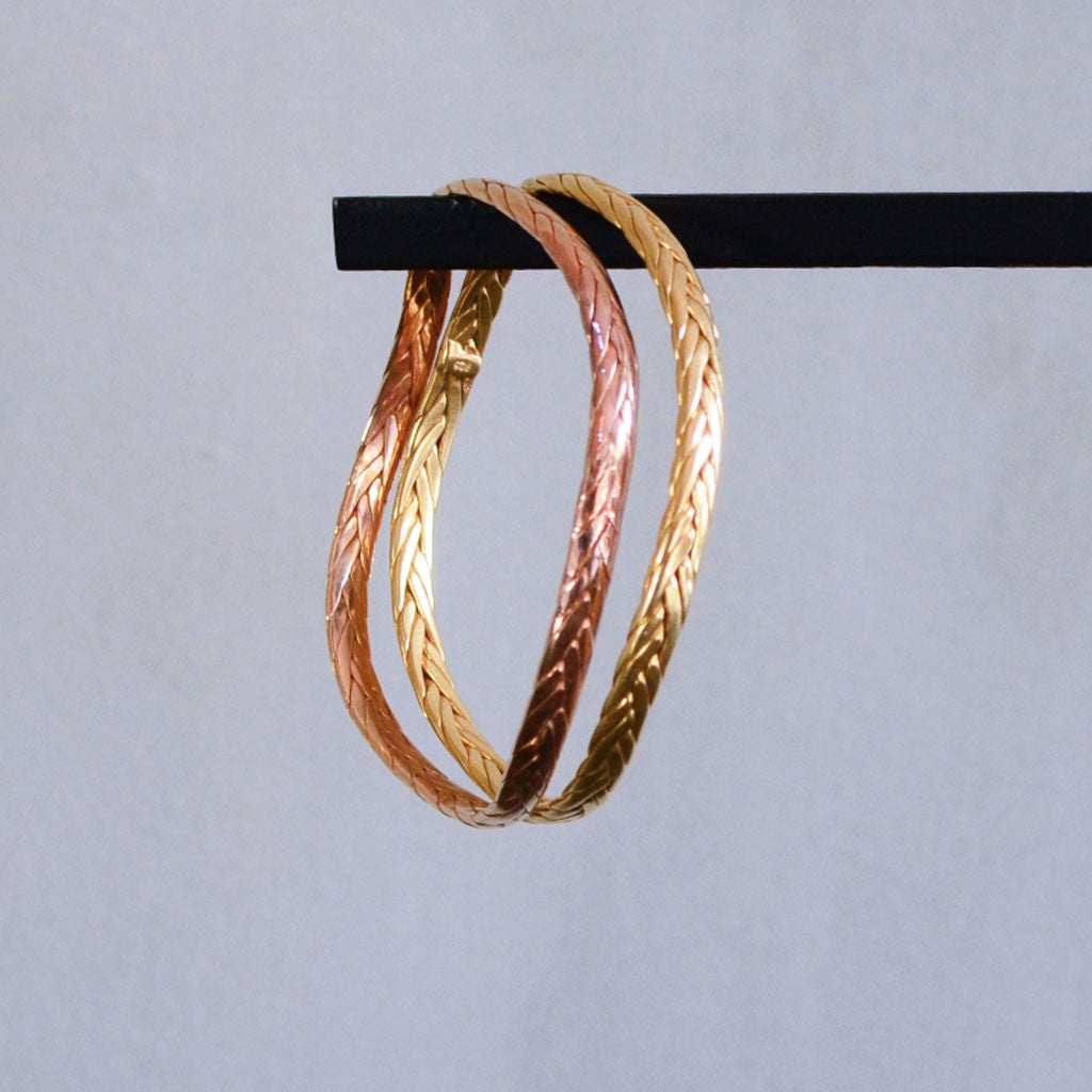 Braided Weave Bangle - Gold Plated