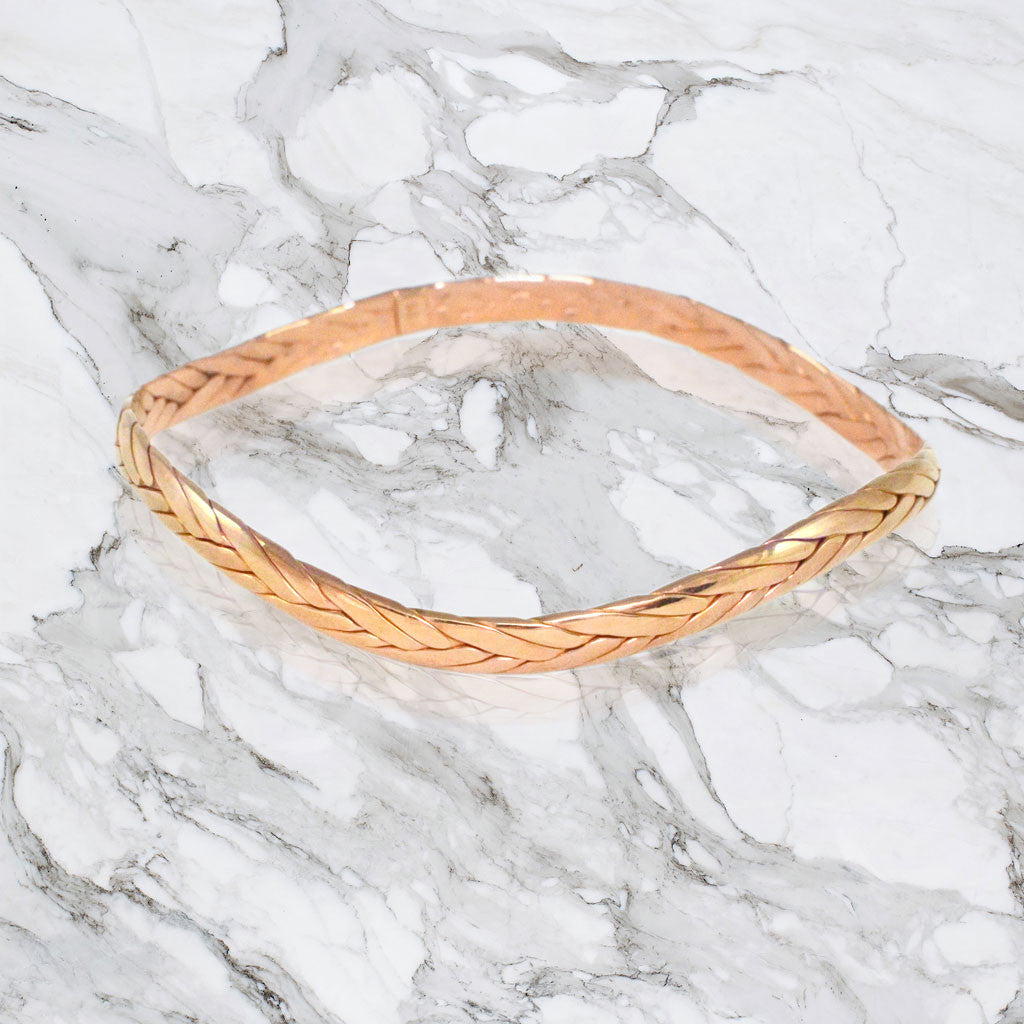 Braided Weave Cuff Bracelet - Rose Gold