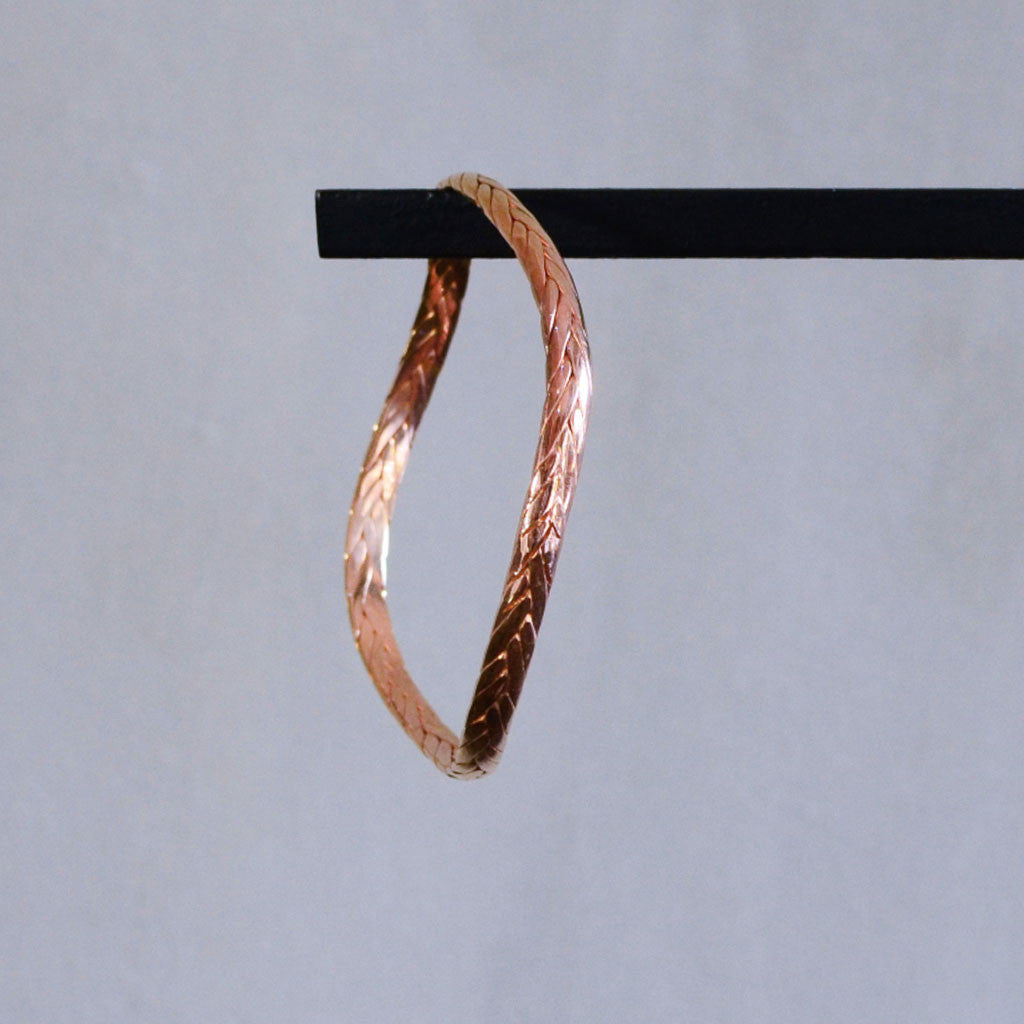 Braided Weave Bangle - Rose Gold