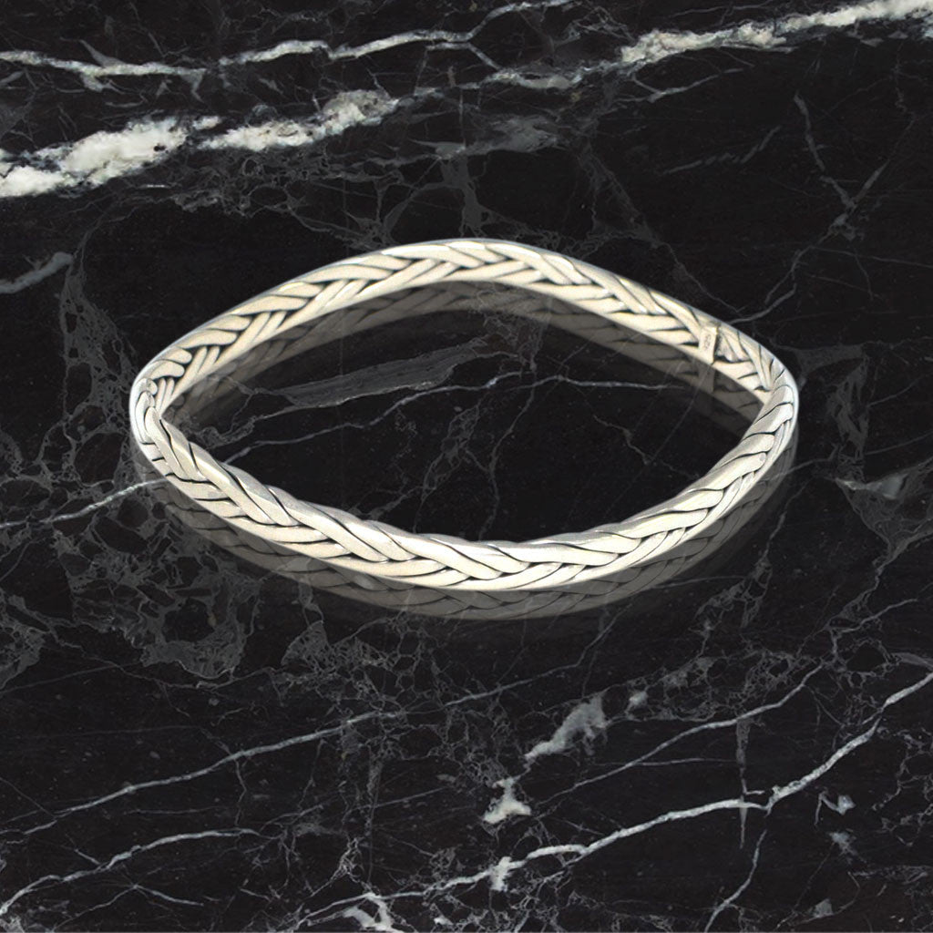Braided Weave Cuff Bracelet - Sterling Silver