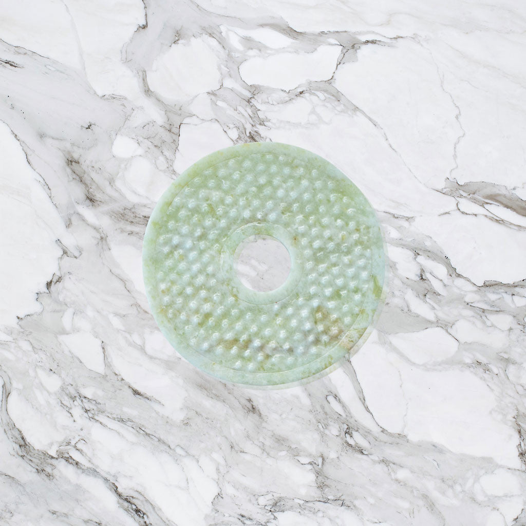 Carved Jade Table Coaster - Dots (Set Of 4)