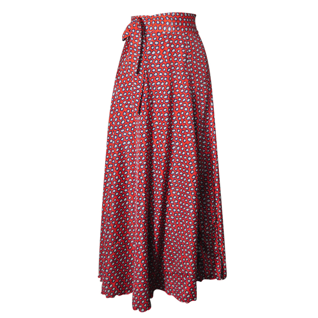 China Silk Wrap Skirt - red spot