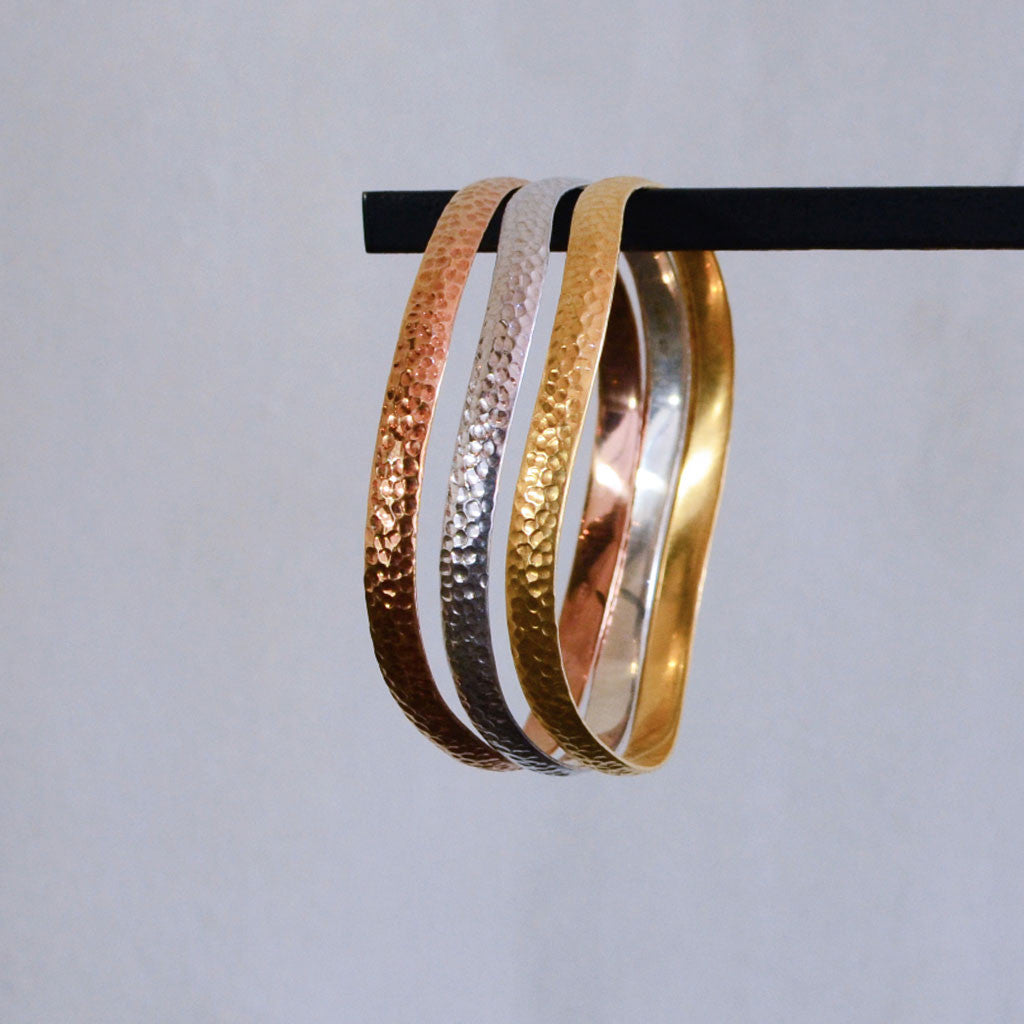 Hammered Bangle - Gold Plated