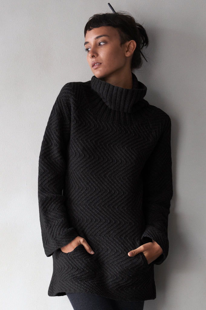Hand-Knit Turtle-Neck Sweater  Women's Clothing