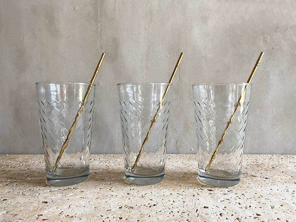 Bamboo Brass Swizzle Sticks - Set of 6  Swizzle Sticks