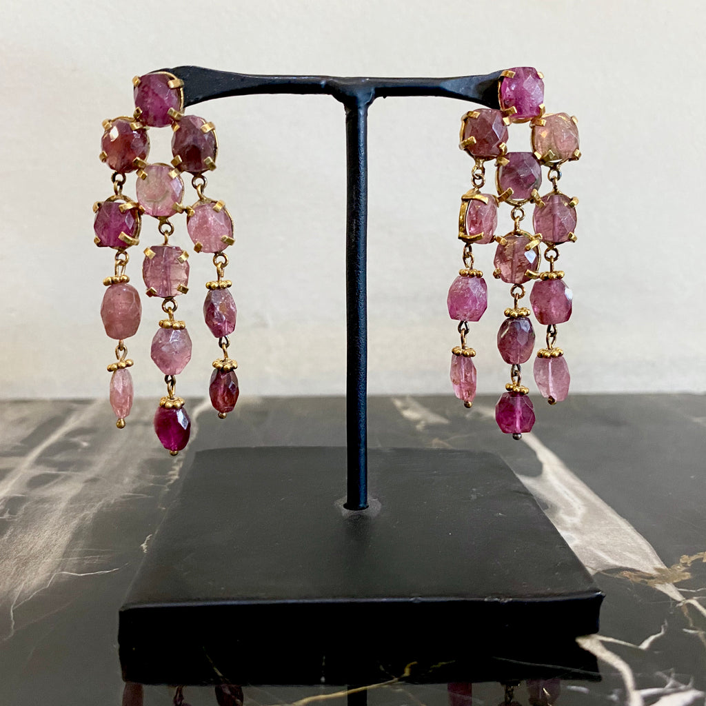 Rainfall Earrings - Watermelon Tourmaline  Jewellery