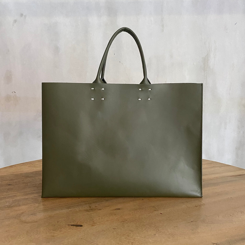 Katsunori Leather Tote - Medium Olive  Bag