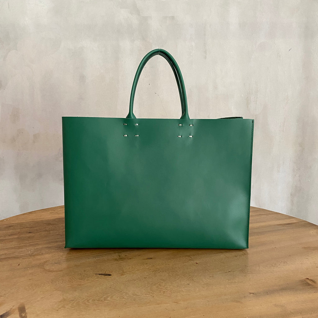 Katsunori Leather Tote - Medium Emerald  Bag