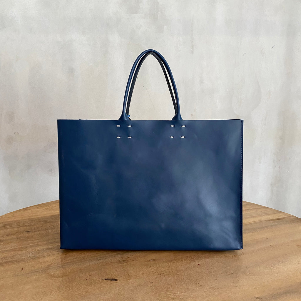 Katsunori Leather Tote - Medium Denim Blue  Bag