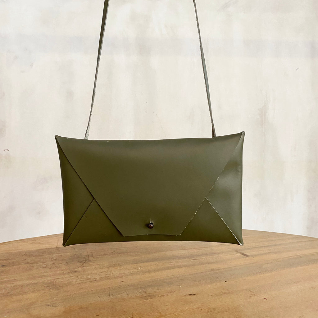 Katsunori Leather Envelope Bag - Olive  Bag