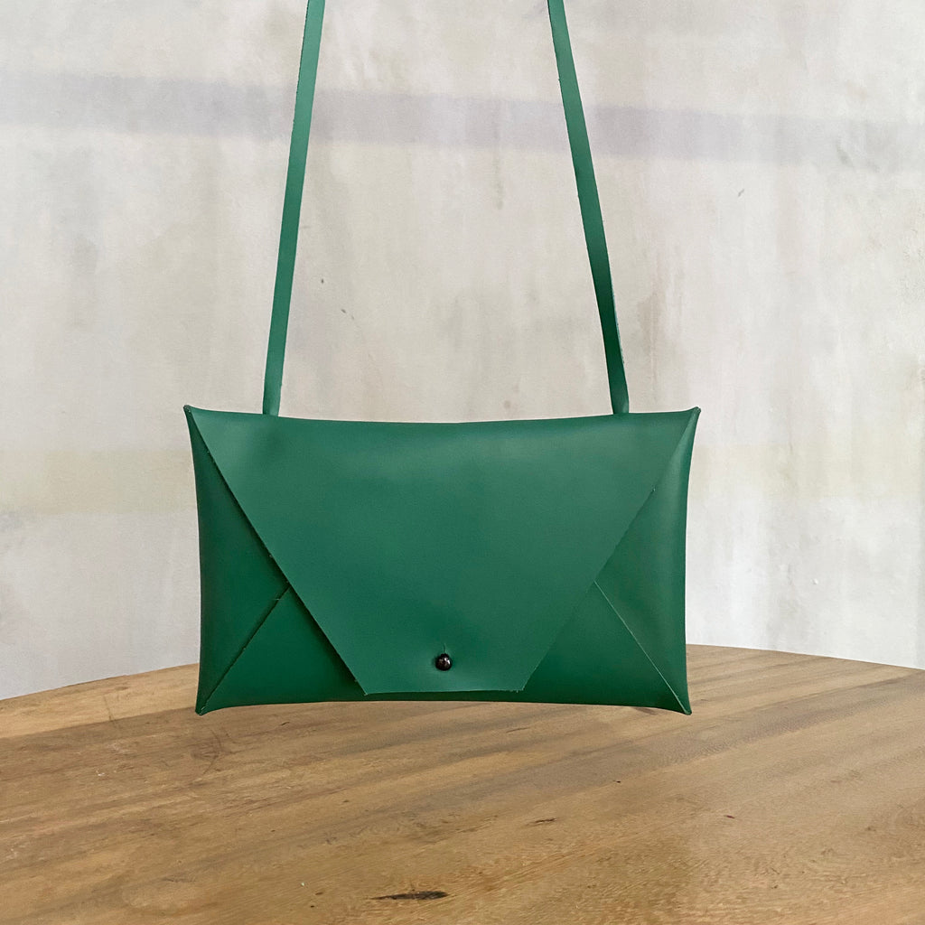 Katsunori Leather Envelope Bag - Emerald  Bag