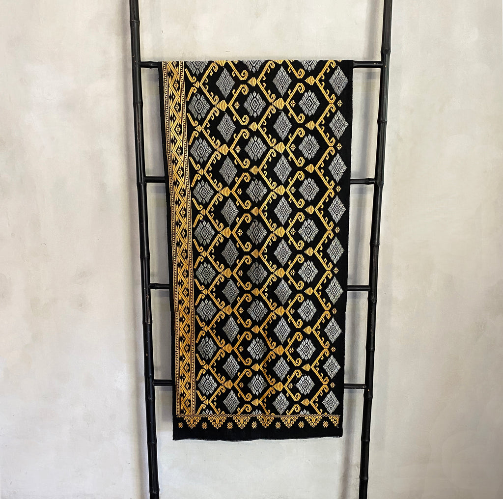Songket Fabric - Black/ Gold/ Copper  Fabric