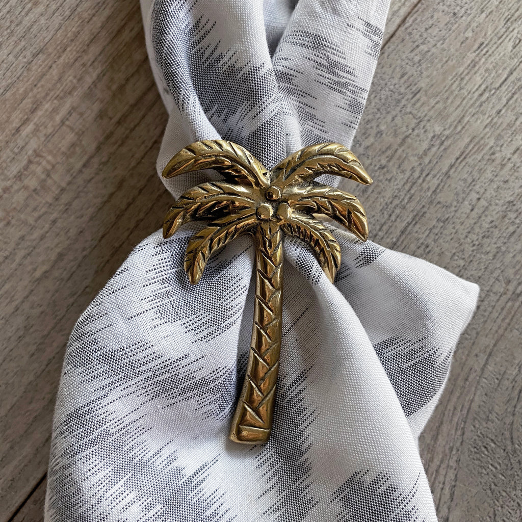 Brass Napkin Ring - Coconut Palm (set of 8 - Only available for purchase with Ikat Napkins)  napkin