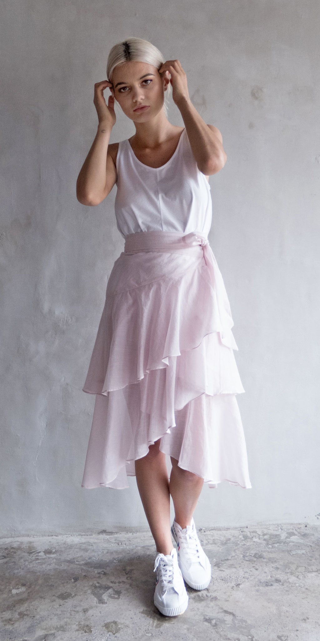 Bingbing Ruffled Wrap Skirt - Pale Pink