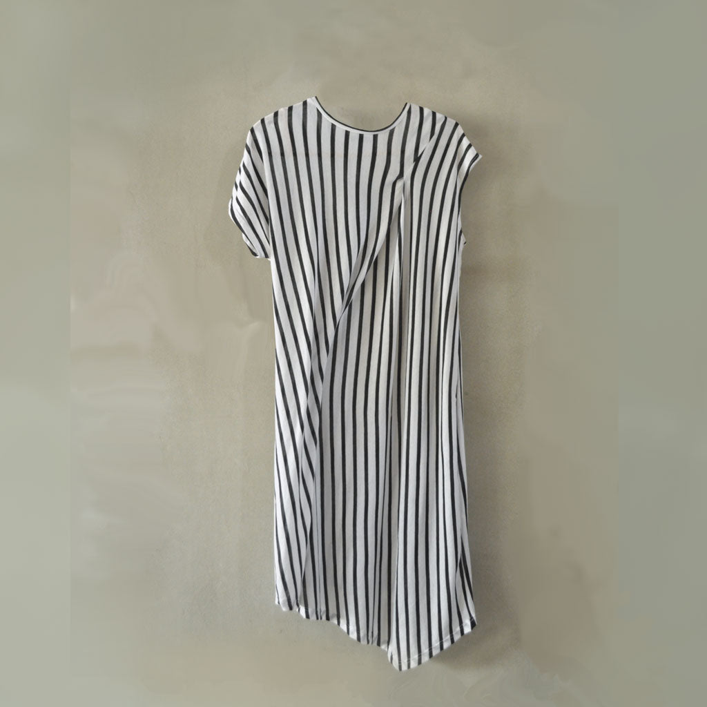 Li Tee Dress - Black Striped Linen