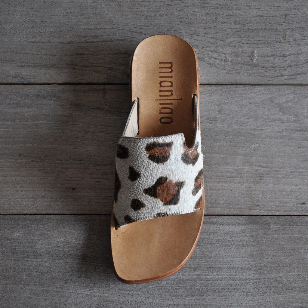 Mianliao Slide Sandals - Pony Skin Leather with Leopard Print