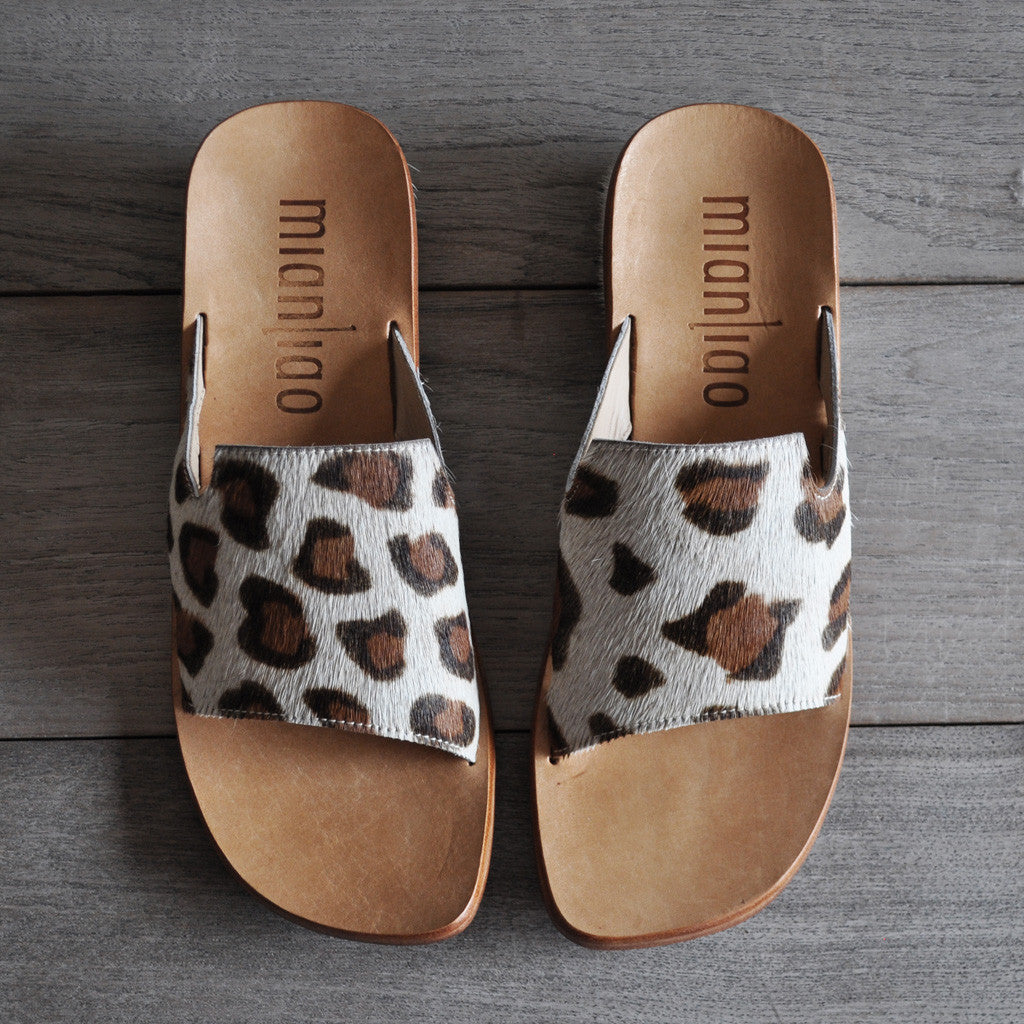 Mianliao Slide Sandals - Pony Skin Leather with Leopard Print  Shoes