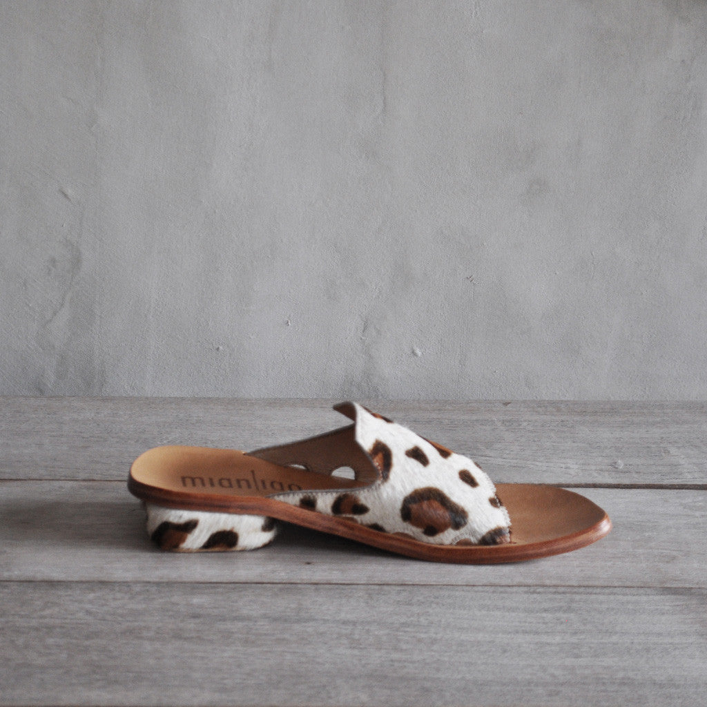Mianliao Slide Sandals - Pony Skin Leather with Leopard Print 40 Shoes