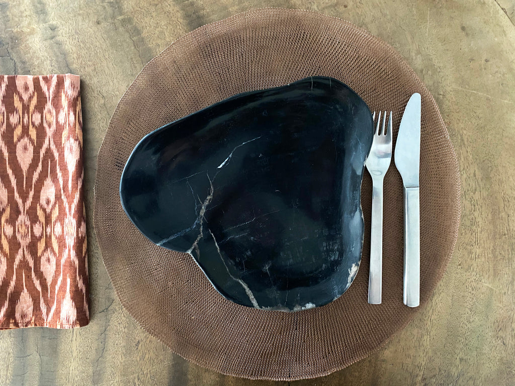 Petrified Wood Plate - Black  plate
