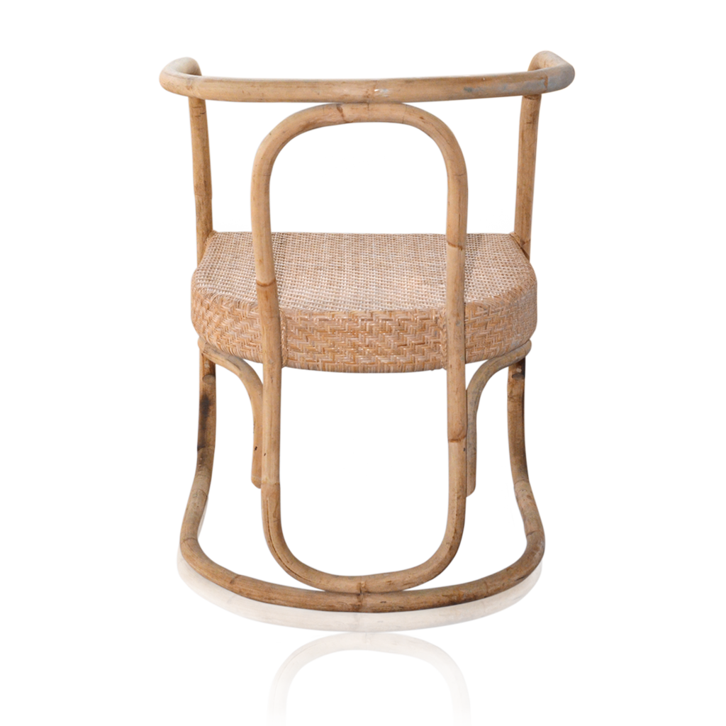 Natural Rattan Dining Chairs - Closed Weave