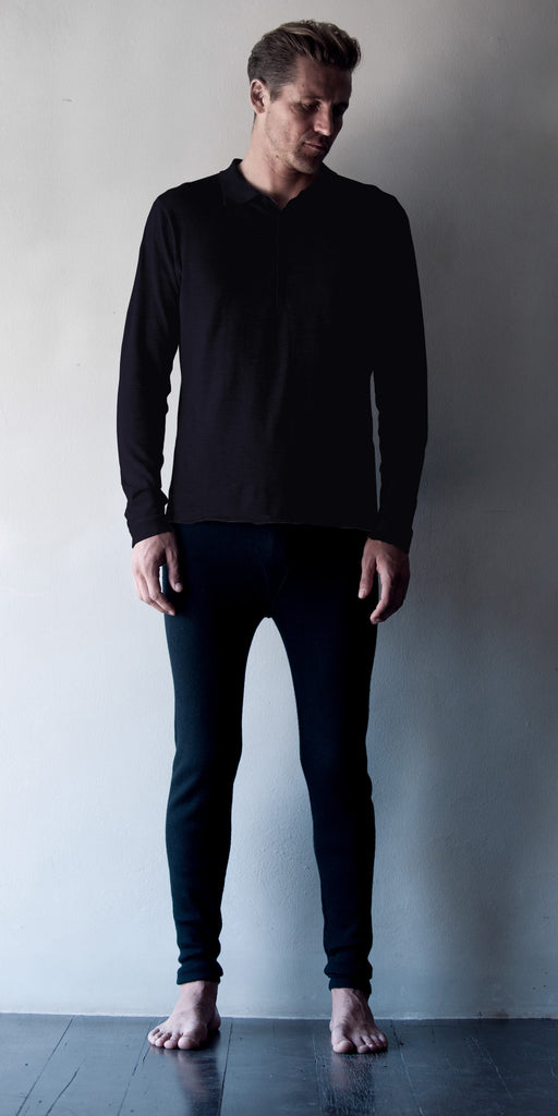 Fine Cashmere Mens Long-sleeve Polo in Tar  Mens Clothing