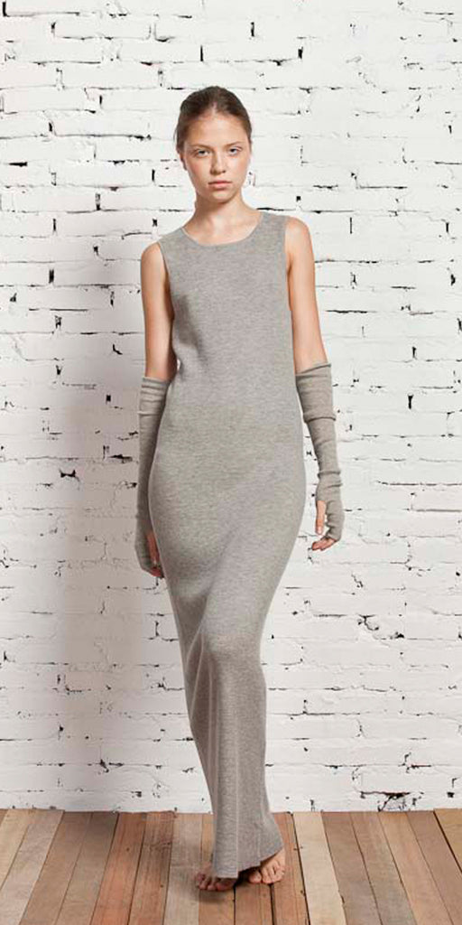 Fine Cashmere Womens Tank Dress in Shark  Womens Clothing