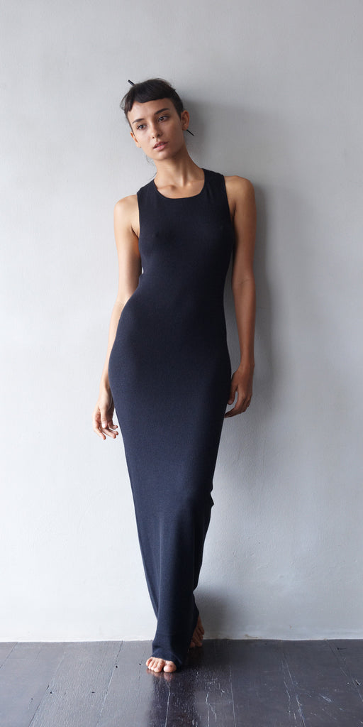 Fine Cashmere Women's Tank Dress in Tar  Womens Clothing