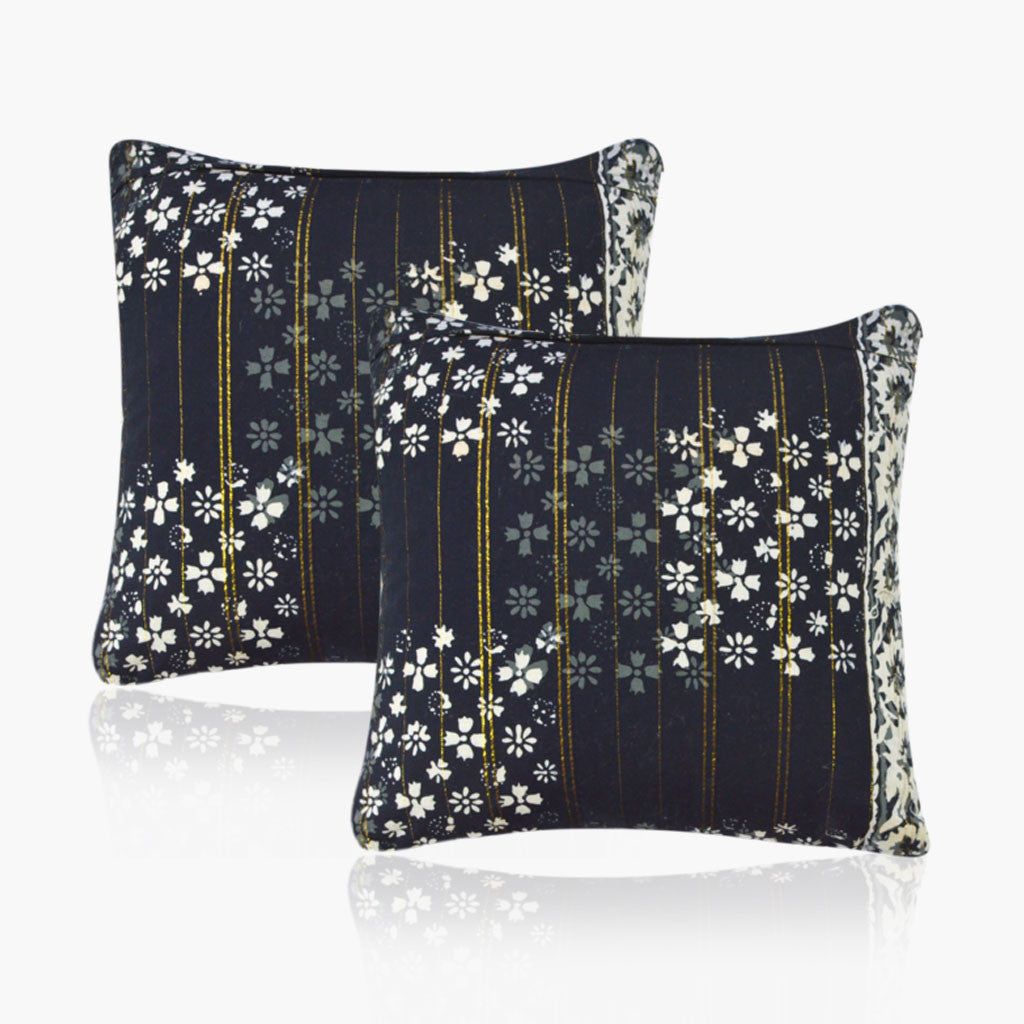 Batik Cushion Cover - Black Gold (Set Of 2)