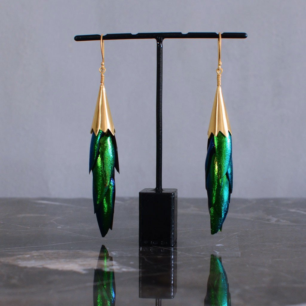 PRE-ORDER     Beetle Wing Waterfall Earrings  Jewellery