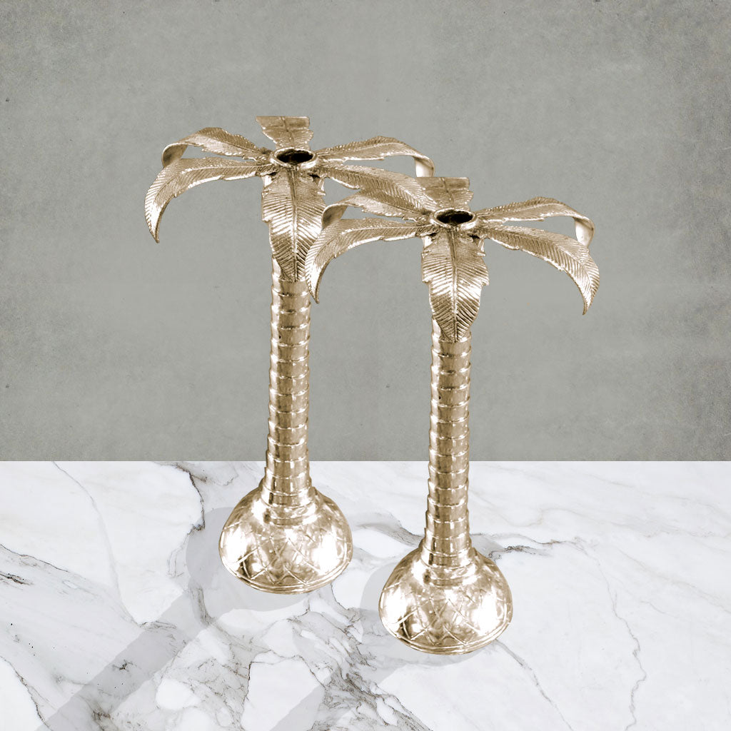 Palm Tree Candleholder (Set of 2 Gold) - Small