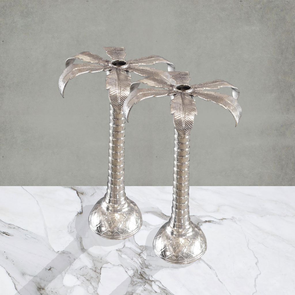 Palm Tree Candleholder (Set of 2 Silver) - Small
