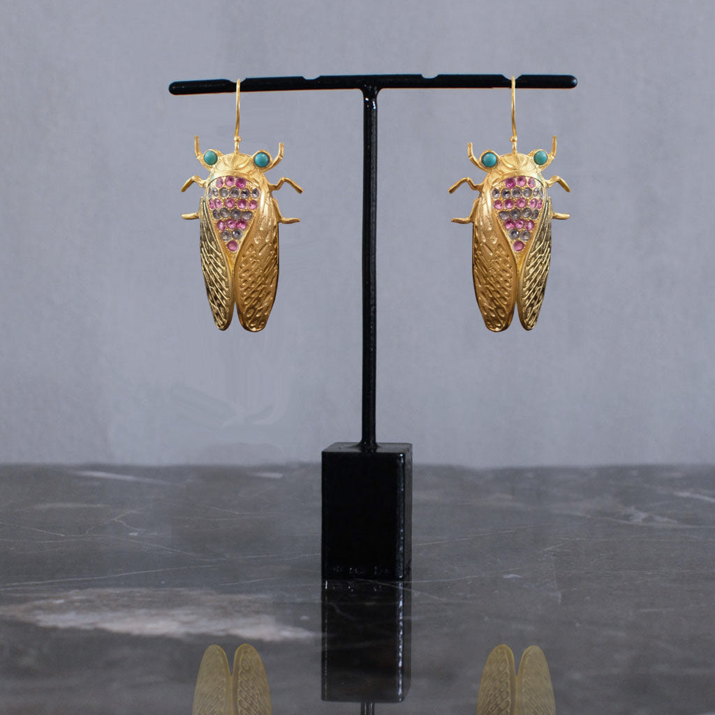 Cicada Earrings - amazonite