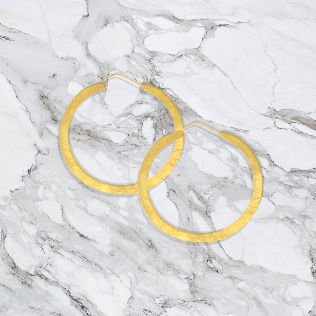 Hindu Flat Hoop Earrings - Gold