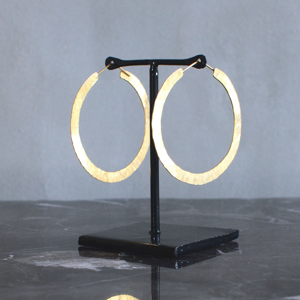 Hindu Flat Hoop Earrings - Gold S Jewellery