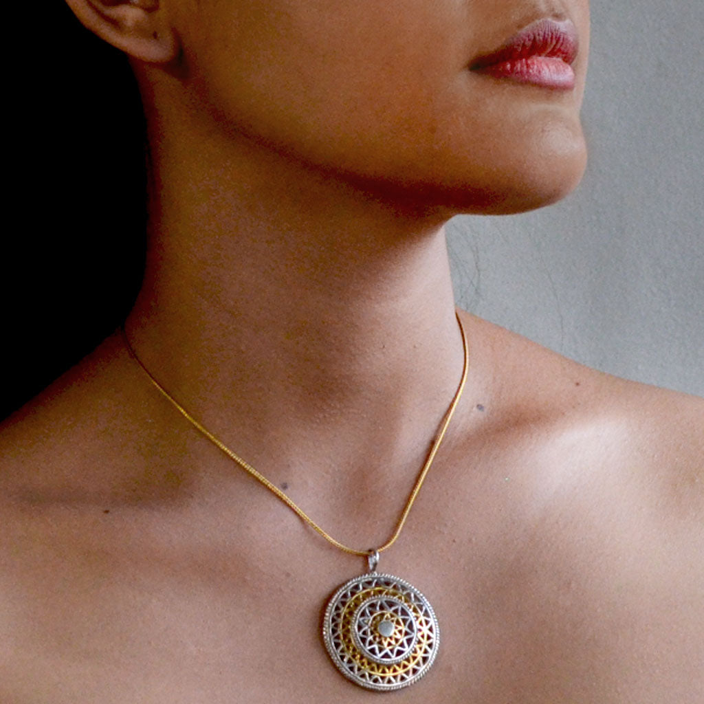 Mandala Necklace - Silver & Gold  Jewellery