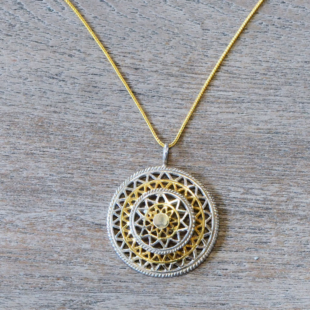 Mandala Necklace - Silver & Gold