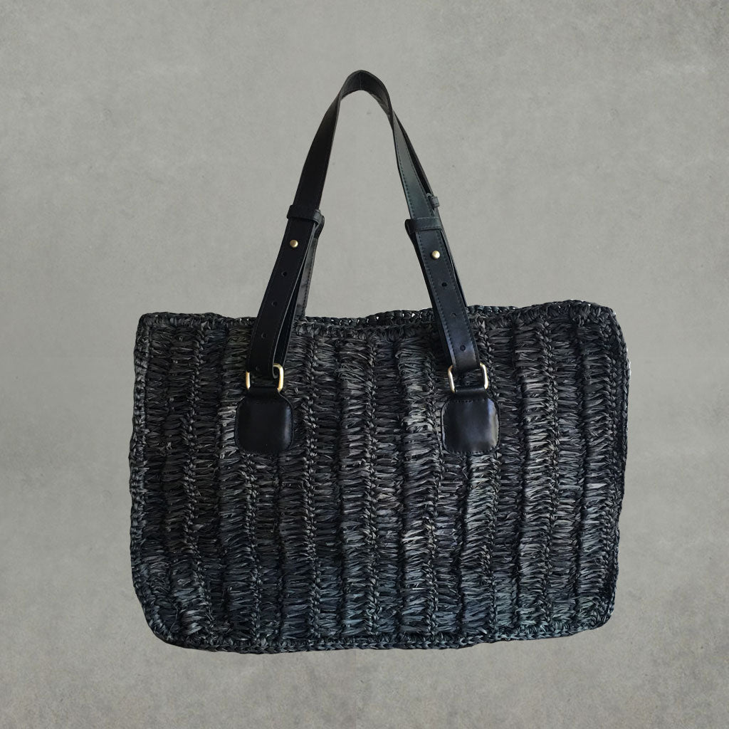 Raffia Tote Bag - Black