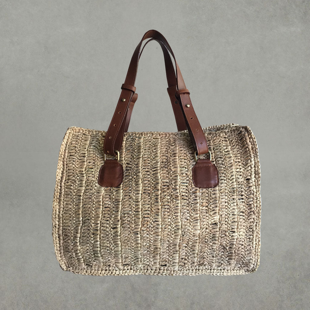 Raffia Tote Bag - Brown