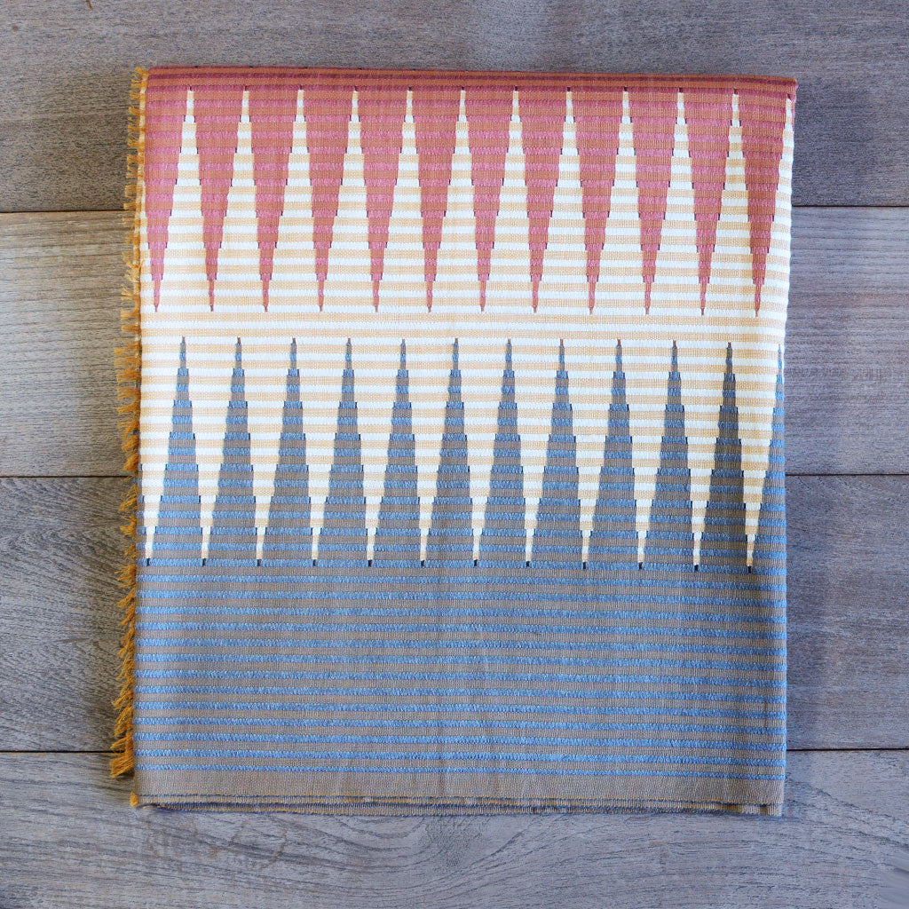 Rang Rang Cotton Throw - Coral Zig Zag