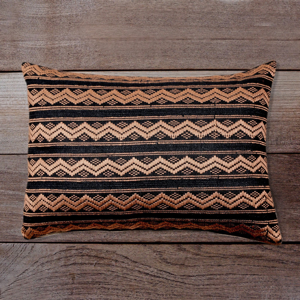 Songket Cushion Cover - black and taupe