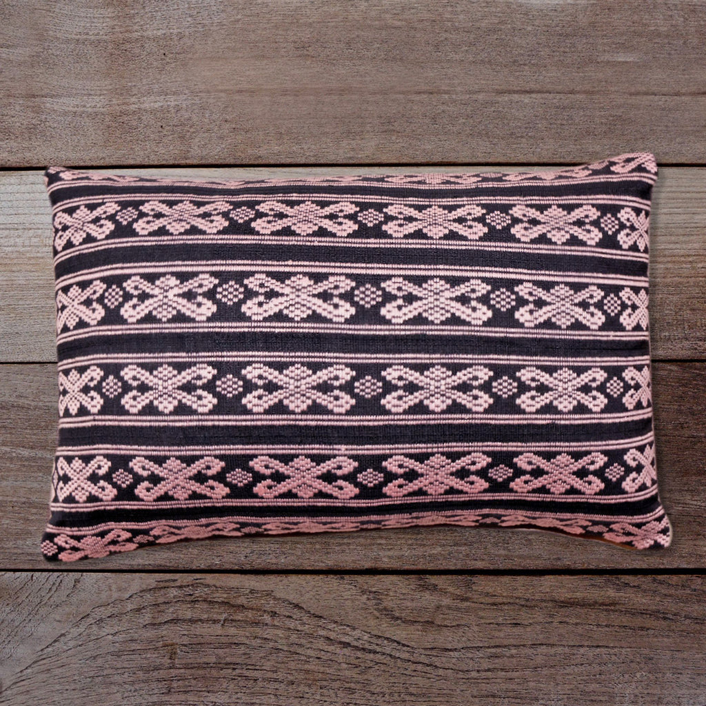 Songket Cushion Cover - Black & Soft Pink  Homewares